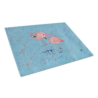 Pink Flamingos on Blue Speckle Tempered Glass Cutting Board