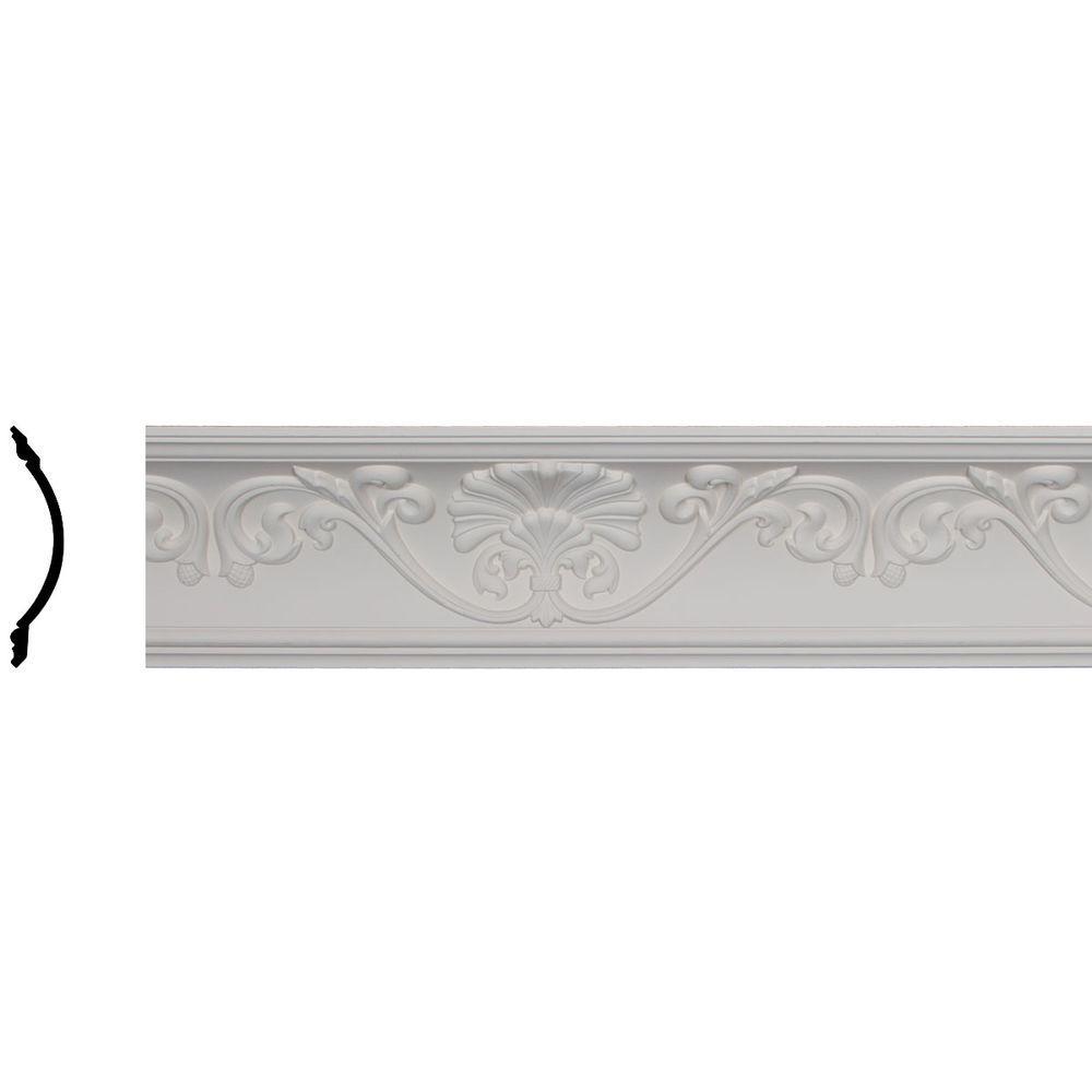 Ekena Millwork 6-1/4 in. x 6-3/8 in. x 95-3/4 in. Polyurethane Cornelia Crown Moulding