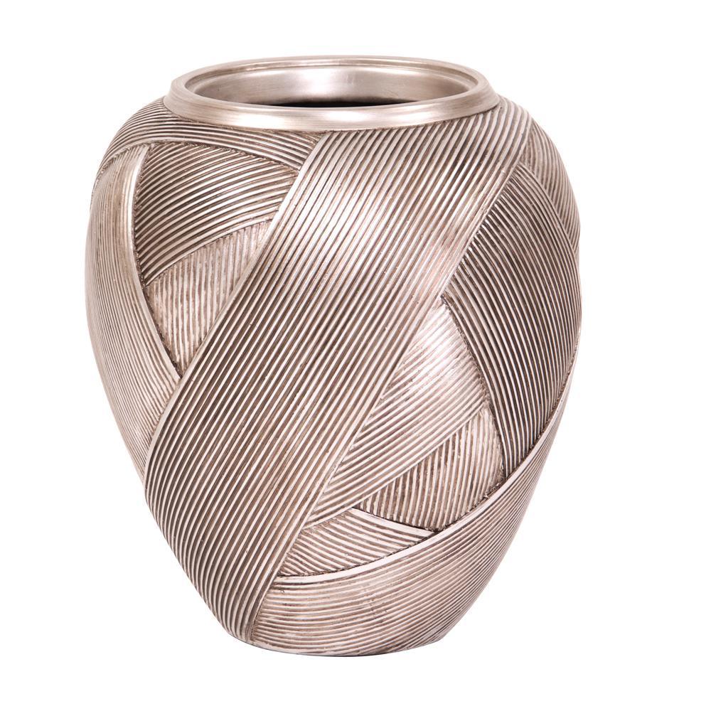 Silver Ribbon Tapered Decorative Vase