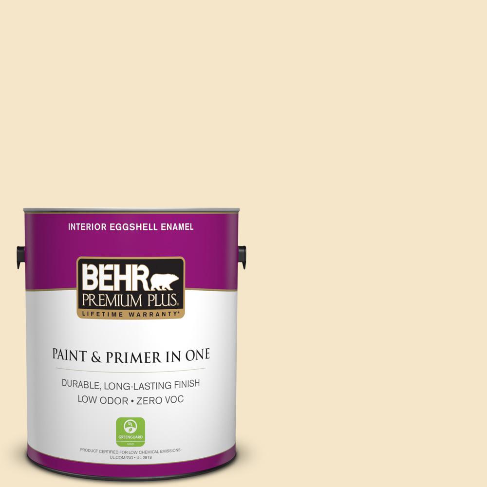BEHR Premium Plus 1-gal. #340E-2 Cottonseed Zero VOC Eggshell Enamel Interior Paint