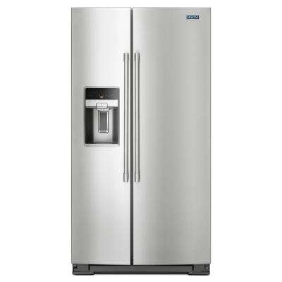 36 in. W 26 cu. ft. Side by Side Refrigerator in Fingerprint Resistant Stainless Steel
