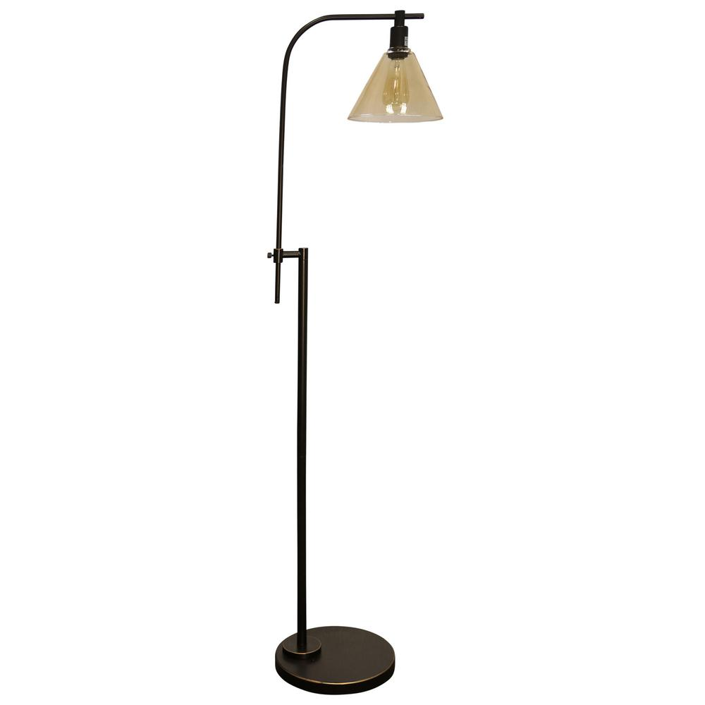 StyleCraft 68 in. Madison Bronze Floor Lamp with Yellowed Glass Shade