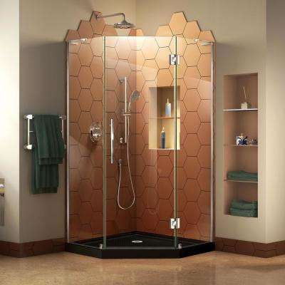 Prism Plus 38 in. x 38 in. x 74.75 in. Frameless Neo-Angle Hinged Shower Enclosure in Chrome with Neo-Angle Shower Base