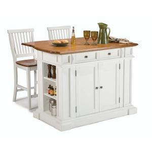 Americana White Kitchen Island With Seating
