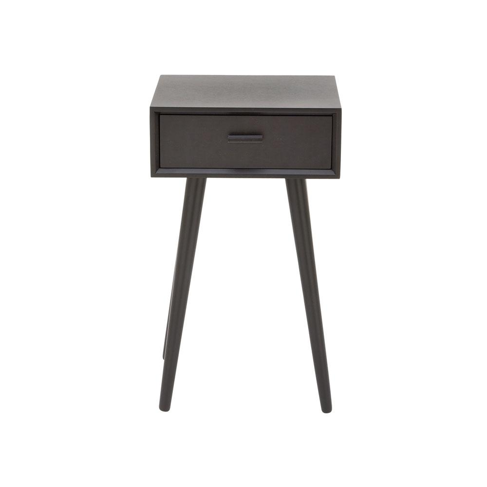1-Drawer Modern Black Wooden Accent Table