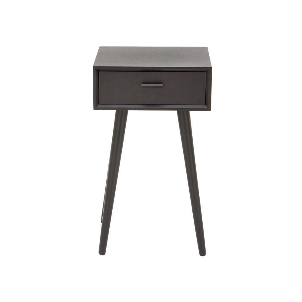 Litton Lane 1-Drawer Modern Black Wooden Accent Table 96389