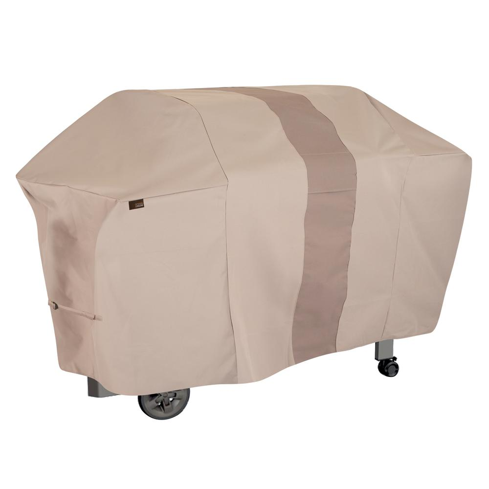 MODERN LEISURE Monterey Water Resistant 6-Burner Grill Cover, 73 in. W x 25 in. D x 44.5 in. H, Large, Beige, Khaki/Fossil Grills are an investment and just like any investment, they need protection. Modern Leisure has developed a 6-Burner Propane Grill Cover to do just that. The 370 g heavy weight polyester material with PVC backing creates long lasting protection for your grill. The waterproof fabric with interior binding keeps your grill dry from all the elements. The neutral khaki and fossil colors work with most exterior home colors. The built-in vents allow drafting which prevent your cover from blowing away and allow it to breathe to prevent mold and mildew. Color: Khaki/Fossil.
