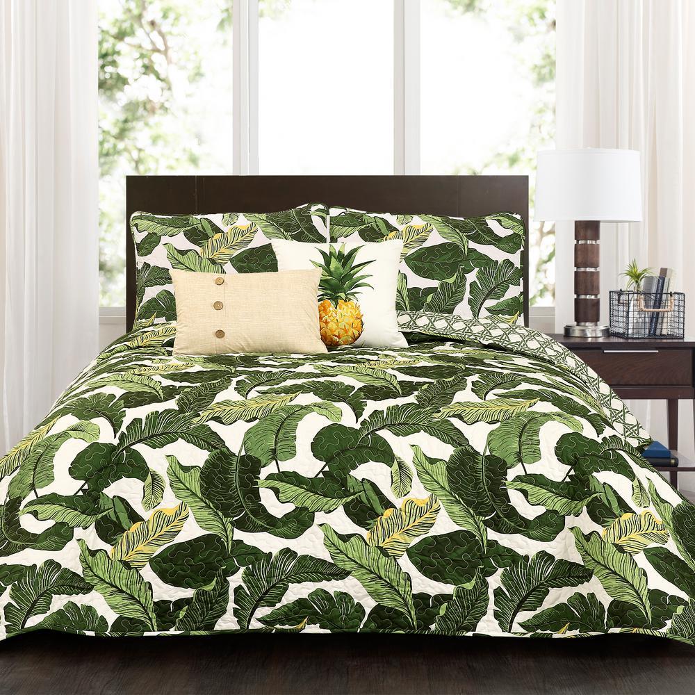 Tropical Paradise Quilt Green 5-Piece Full/Queen Set