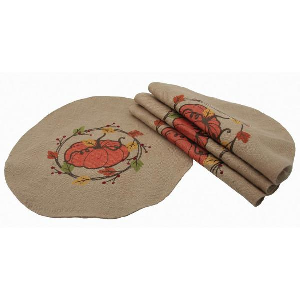 0.1 in. H x 16 in. W Rustic Pumpkin Wreath Fall Round Placemats (Set of 4)