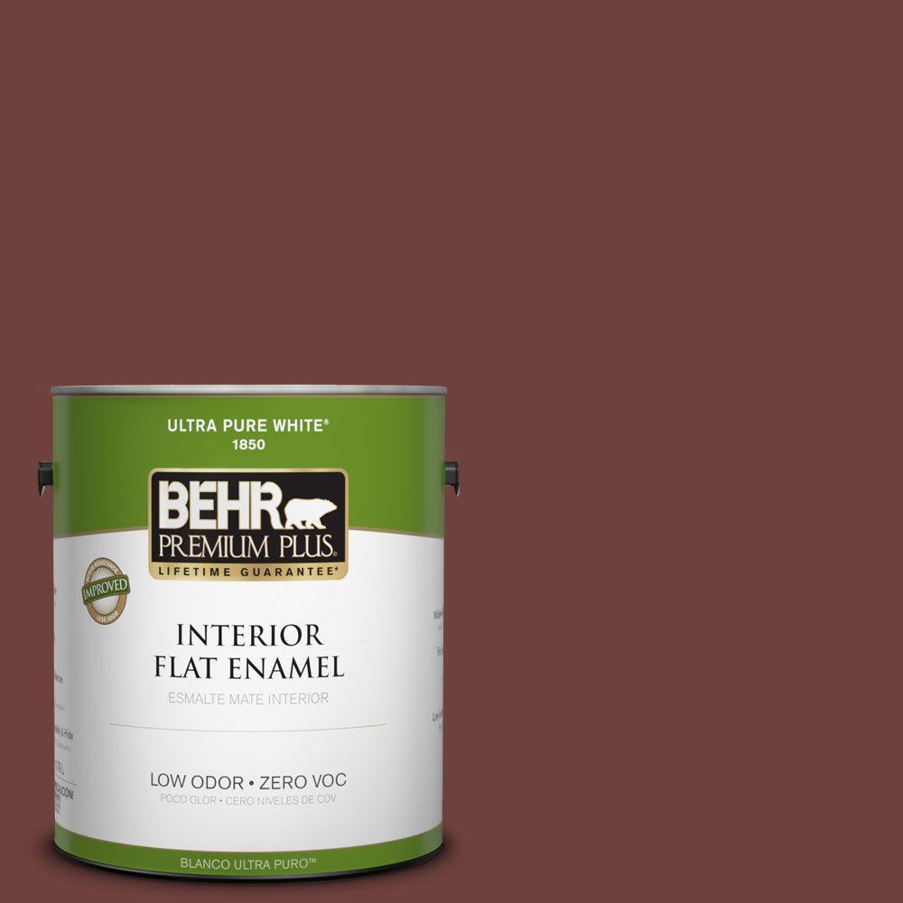 BEHR Premium Plus 1-gal. #S-G-710 Hawaiian Cinder Zero VOC Flat Enamel Interior Paint-DISCONTINUED