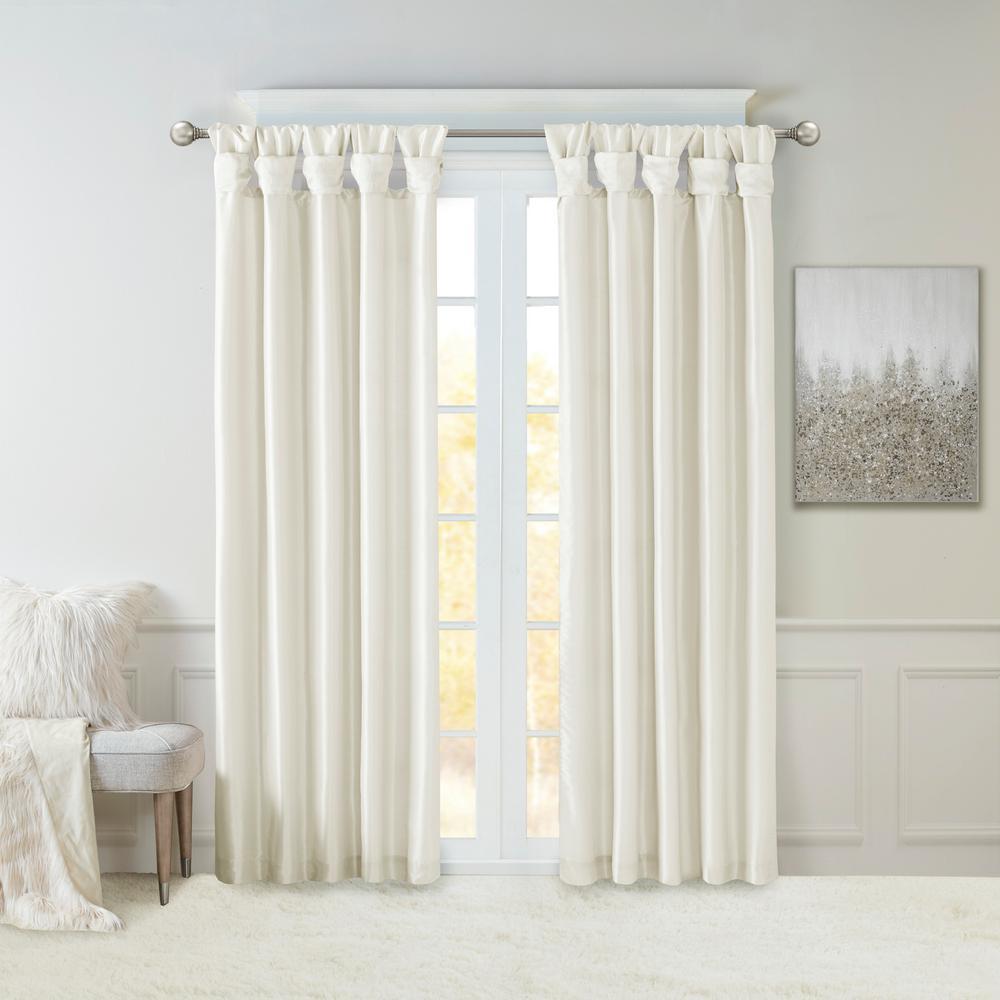Natalie White Faux Fur Room Darkening Twist Tab Lined Window Curtain 50 in. W x 108 in. L