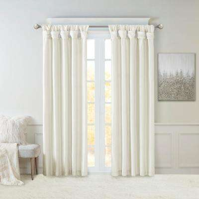 Natalie White 50 in. x 120 in. Twist Tab Lined Window Curtain