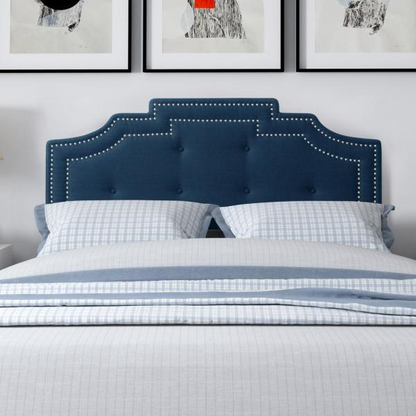 Corliving Aspen Navy Blue Crown Silhouette Double Full Headboard With Button Tufting Bbt 202 D The Home Depot