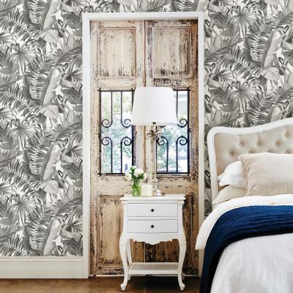 56.4 sq. ft. Alfresco Black Palm Leaf Wallpaper