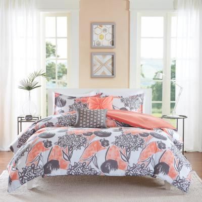 Lily 5-Piece Coral Full/Queen Comforter Set