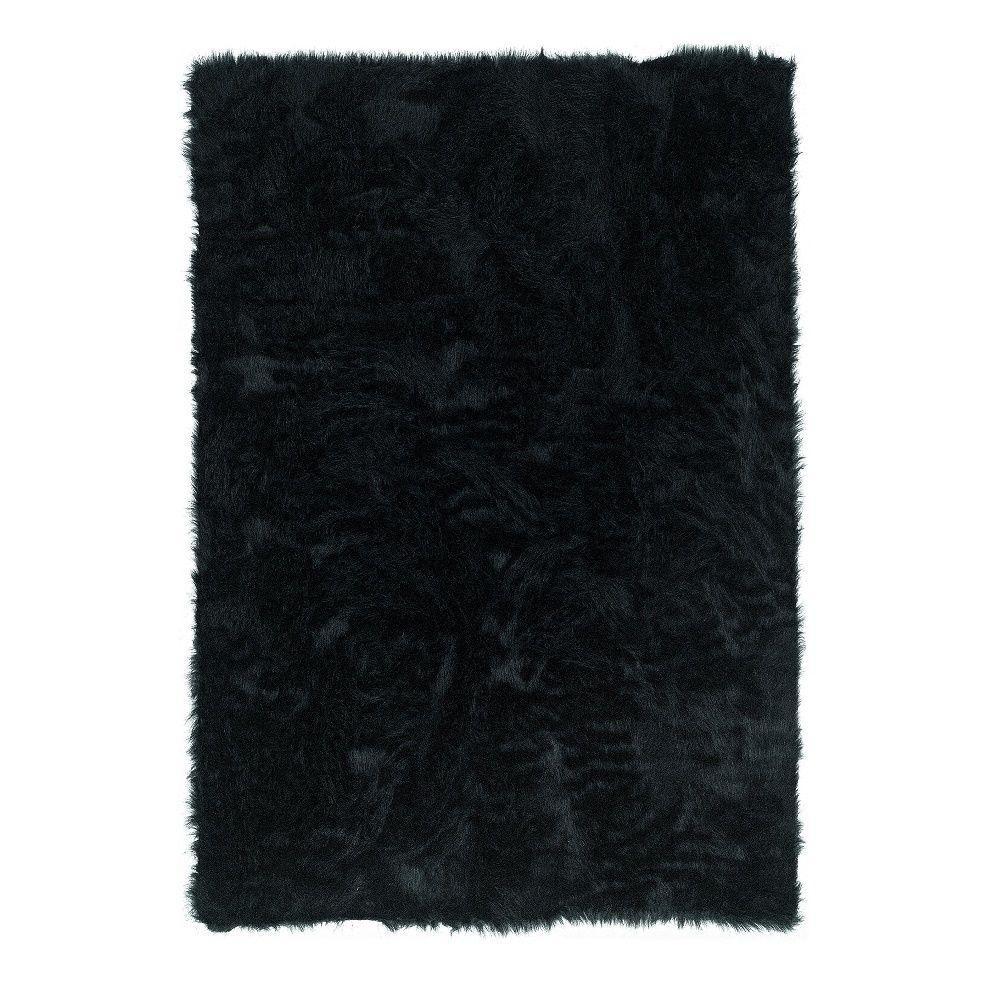 Faux Sheepskin Black 3 ft. x 5 ft. Indoor Area Rug