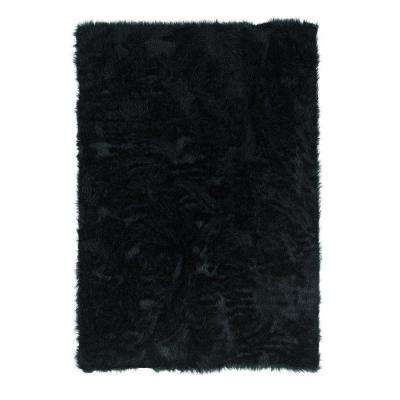 Faux Sheepskin Black 5 ft. x 7 ft. Indoor Area Rug