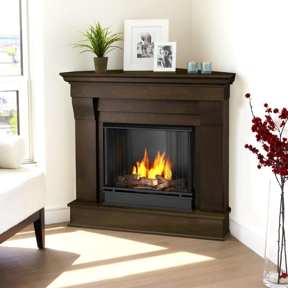Corner Ventless Gel Fuel Fireplace in Dark Walnut