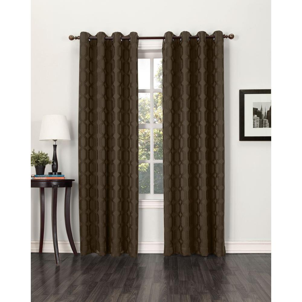 Sun Zero Blackout Chocolate Harold Blackout Curtain Panel, 52 in. W x 95 in. L