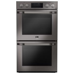 double electric wall oven self cleaning with convection and easyclean in black stainless - Electric Wall Oven