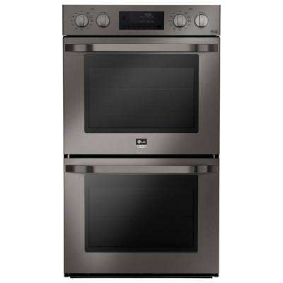 30 in. Double Electric Wall Oven Self Cleaning with Convection and EasyClean in Black Stainless Steel