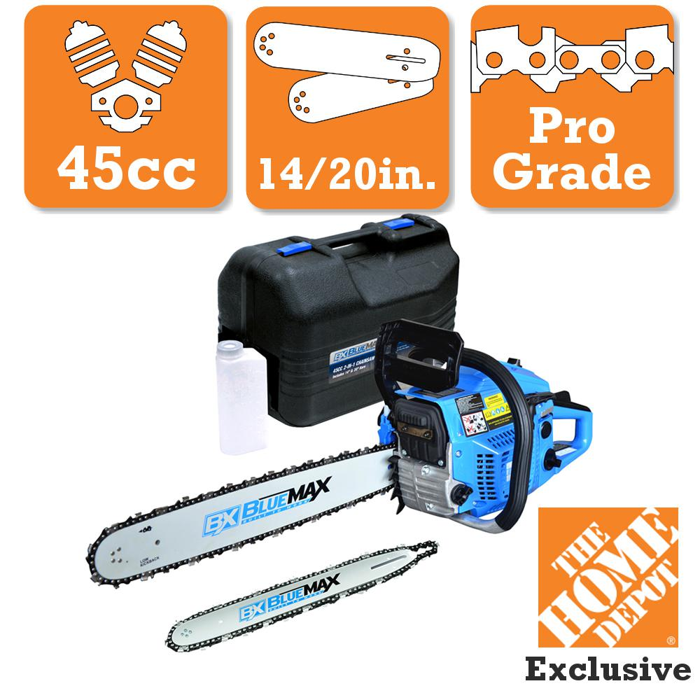 Blue Max 2-In-1 20 in  and 14 in  45cc Gas Chainsaw Combo with Blow Molded  Case