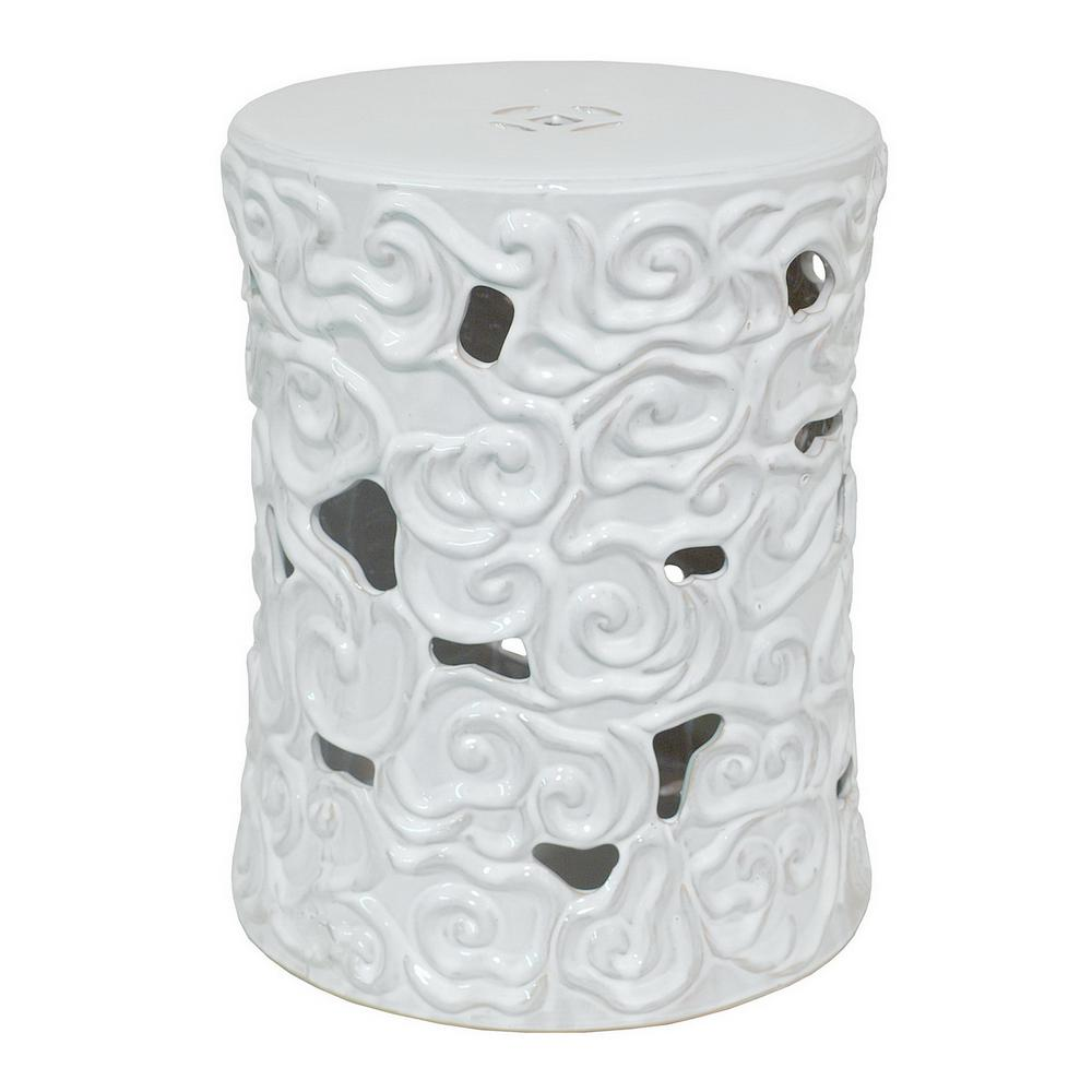 THREE HANDS 19.5 in. White Garden Stool