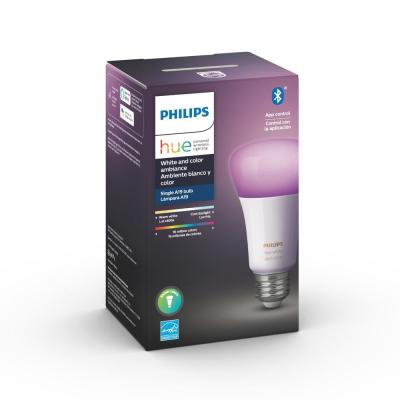 White and Color Ambiance A19 LED 60W Equivalent Dimmable Smart Wireless Light Bulb with Bluetooth