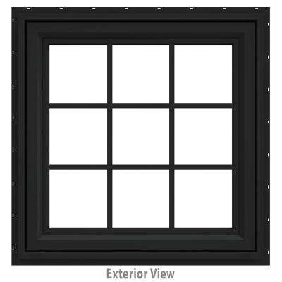 36 in. x 36 in. V-4500 Series Bronze FiniShield Vinyl Awning Window with Colonial Grids/Grilles