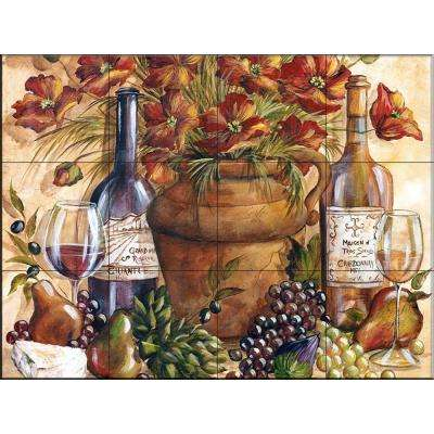 Papaveri Rossi Complete 17 in. x 12-3/4 in. Ceramic Mural Wall Tile