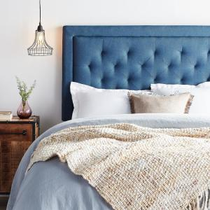 Upholstered Navy Twin Headboard with Diamond Tufting