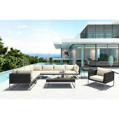 Malibu Aluminum Armless Middle Outdoor Sectional Chair with Beige Cushion