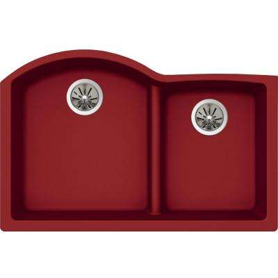 Quartz Luxe Undermount Composite 33 in. Rounded Offset Double Bowl Kitchen Sink in Maraschino
