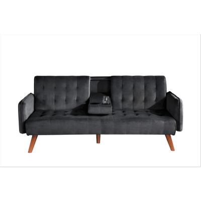 Carrington 72 in. Black Velvet 2-Seater Twin Sleeper Convertible Sofa Bed with Tapered Legs