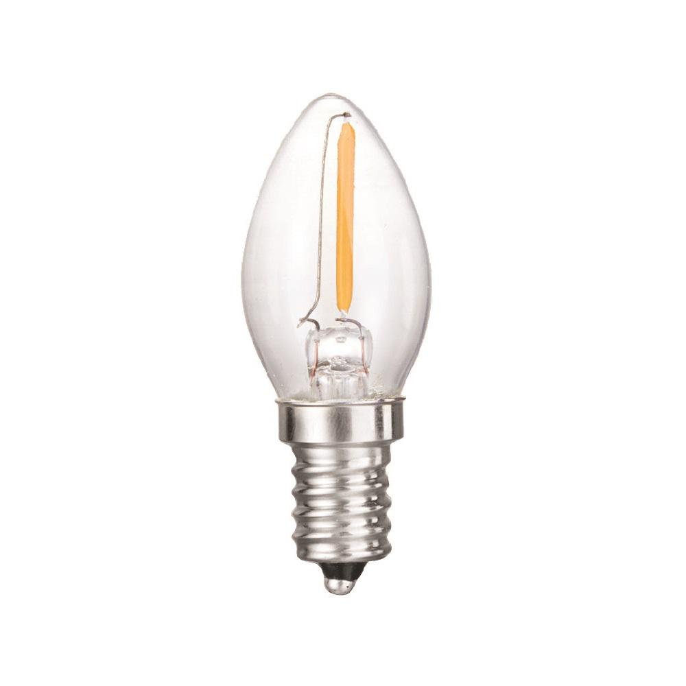 0.5-Watt Equivalent C7 Dimmable Clear Filament Glass LED Night Light Bulb