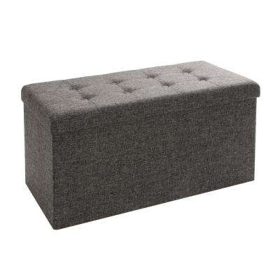Charcoal Gray Foldable Storage Bench Ottoman (2 Pack)