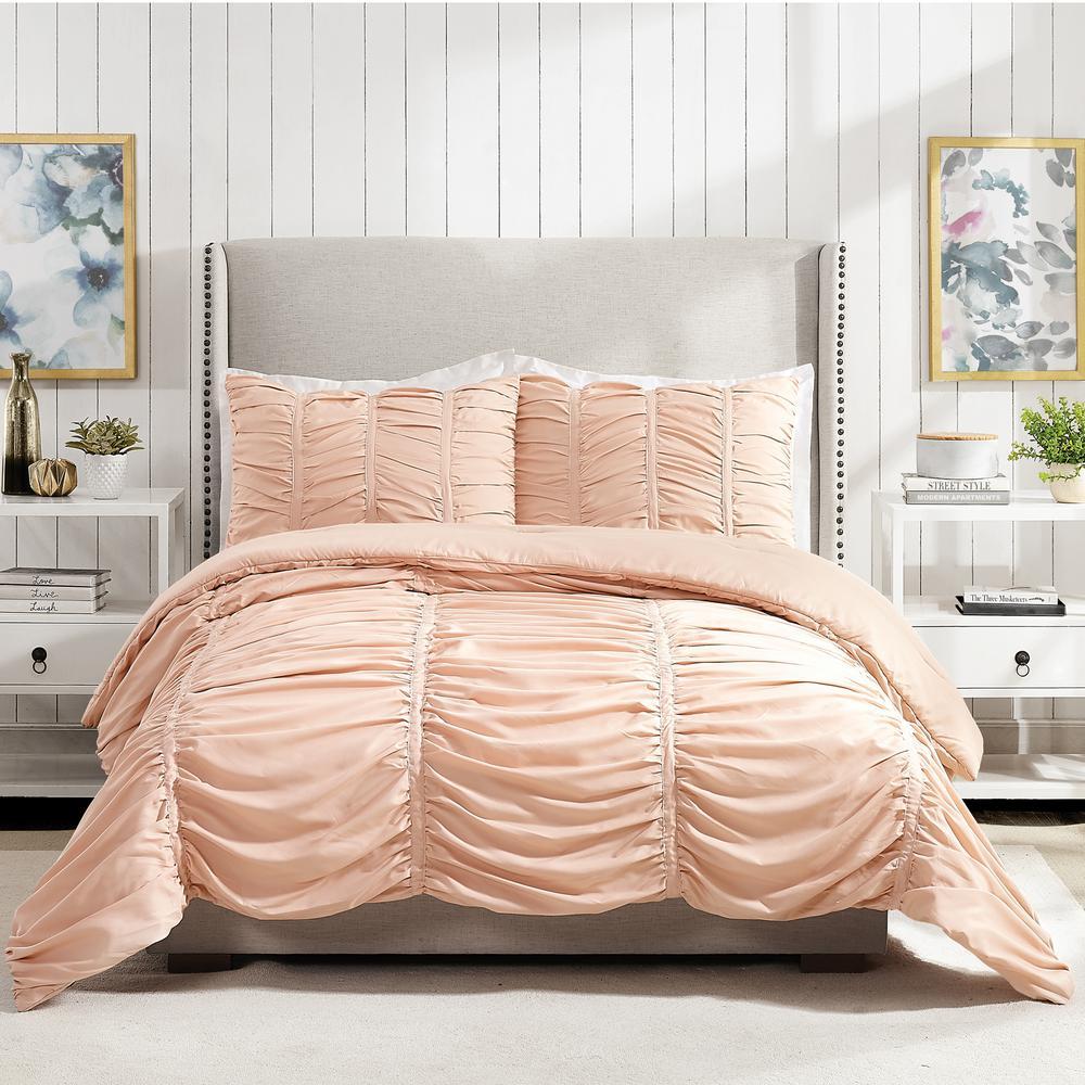 Emily Texture 3-Piece Blush Full Queen Polyester Comforter Set