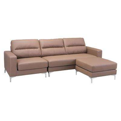 Versa 2-Piece Brown Leatherette Sectional