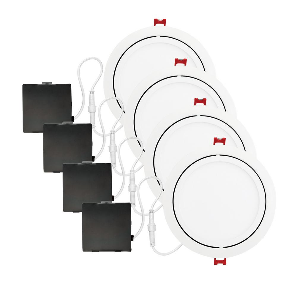Globe Electric Slimline Swivel 6 In White Integrated Led Recessed Lights Finished Ceiling Wire Through Joist Electrical Diy Kit 4 Pack