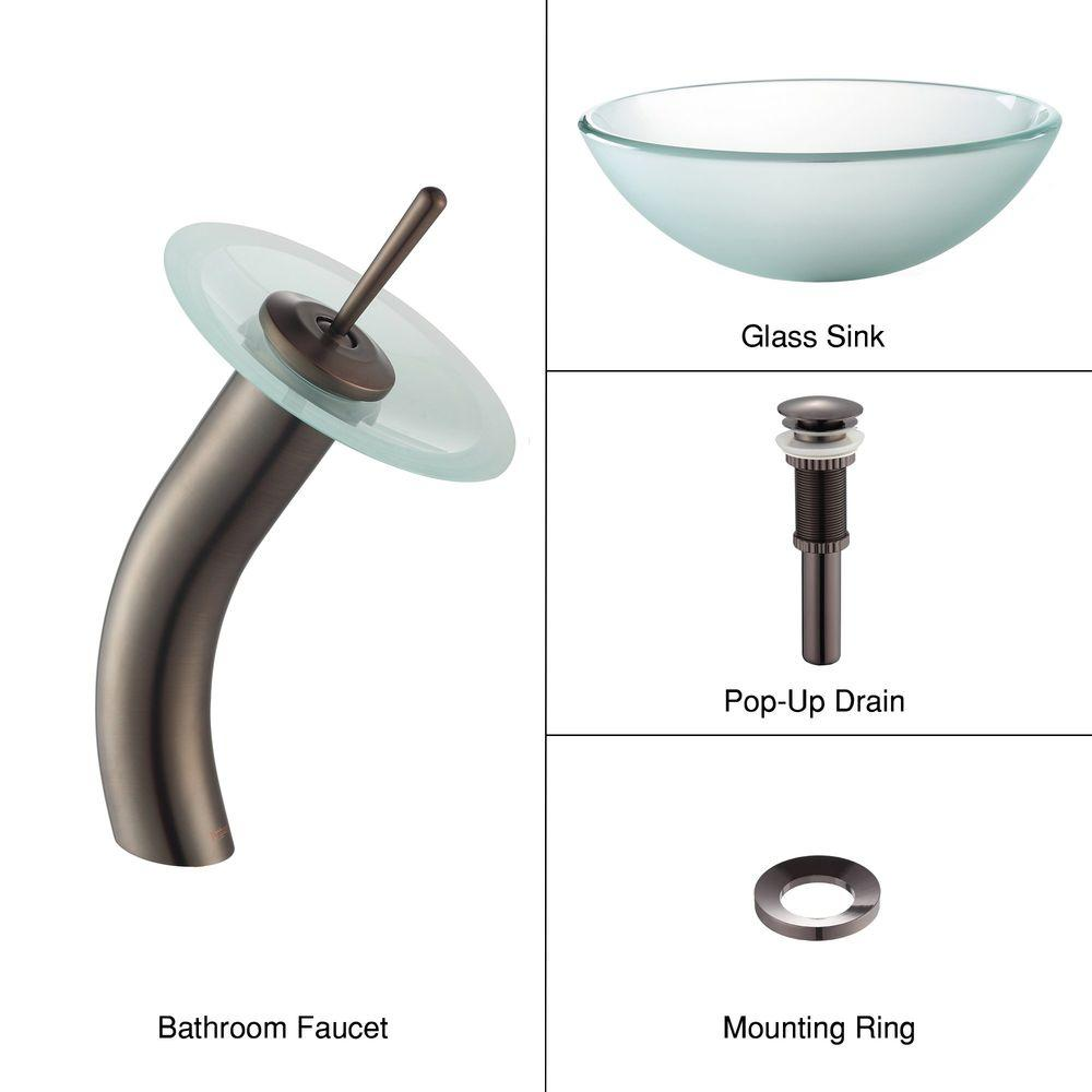 KRAUS Frosted Glass Vessel Sink in Clear with Single Hole Single-Handle Low-Arc Waterfall Faucet in Oil Rubbed Bronze