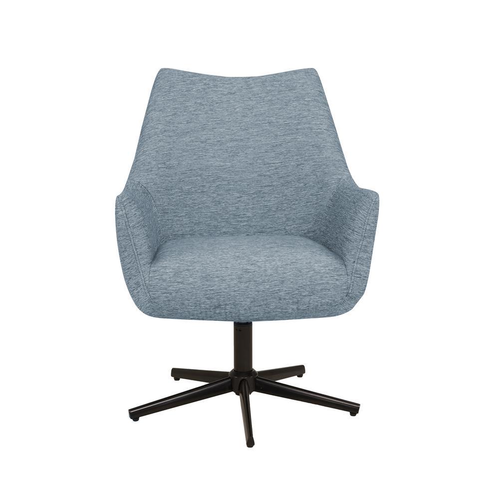Gunnison Swivel Arm Chair in Blue Textured Strie
