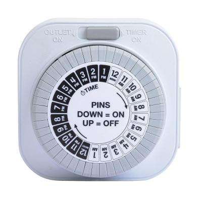 Grounded Big Button Daily Mechanical Timer, Single Outlet, White