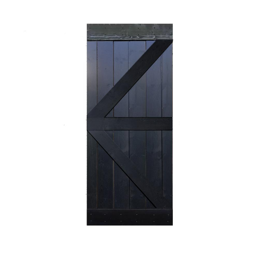 CALHOME 36 in. x 84 in. Knotty Pine Solid Wood DIY Interior Barn Door Slab, Choco Black was $389.0 now $259.0 (33.0% off)