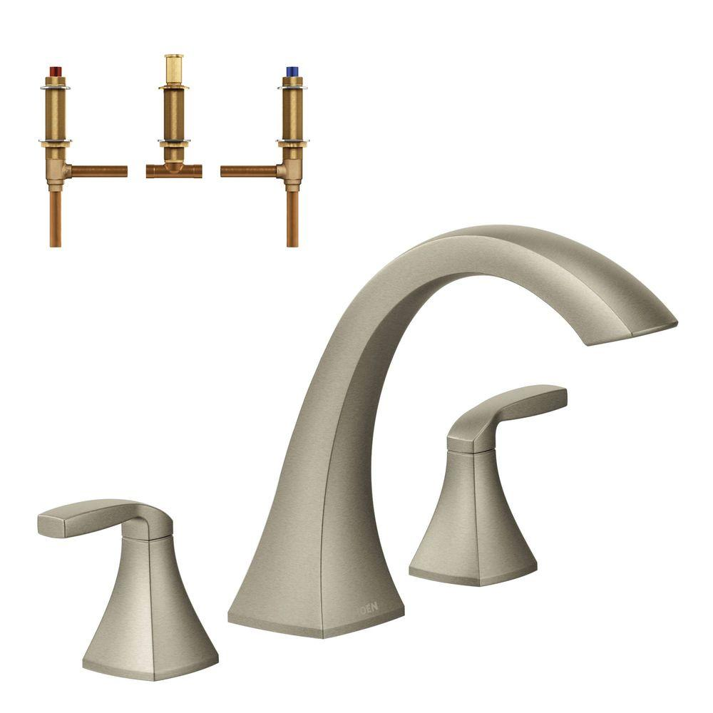 MOEN Voss 2 Handle Deck Mount High Arc Roman Tub Faucet Trim Kit with