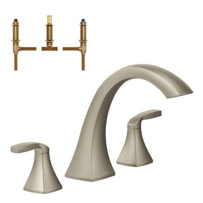 Voss 2-Handle Deck-Mount High Arc Roman Tub Faucet Trim Kit with Valve in Brushed Nickel