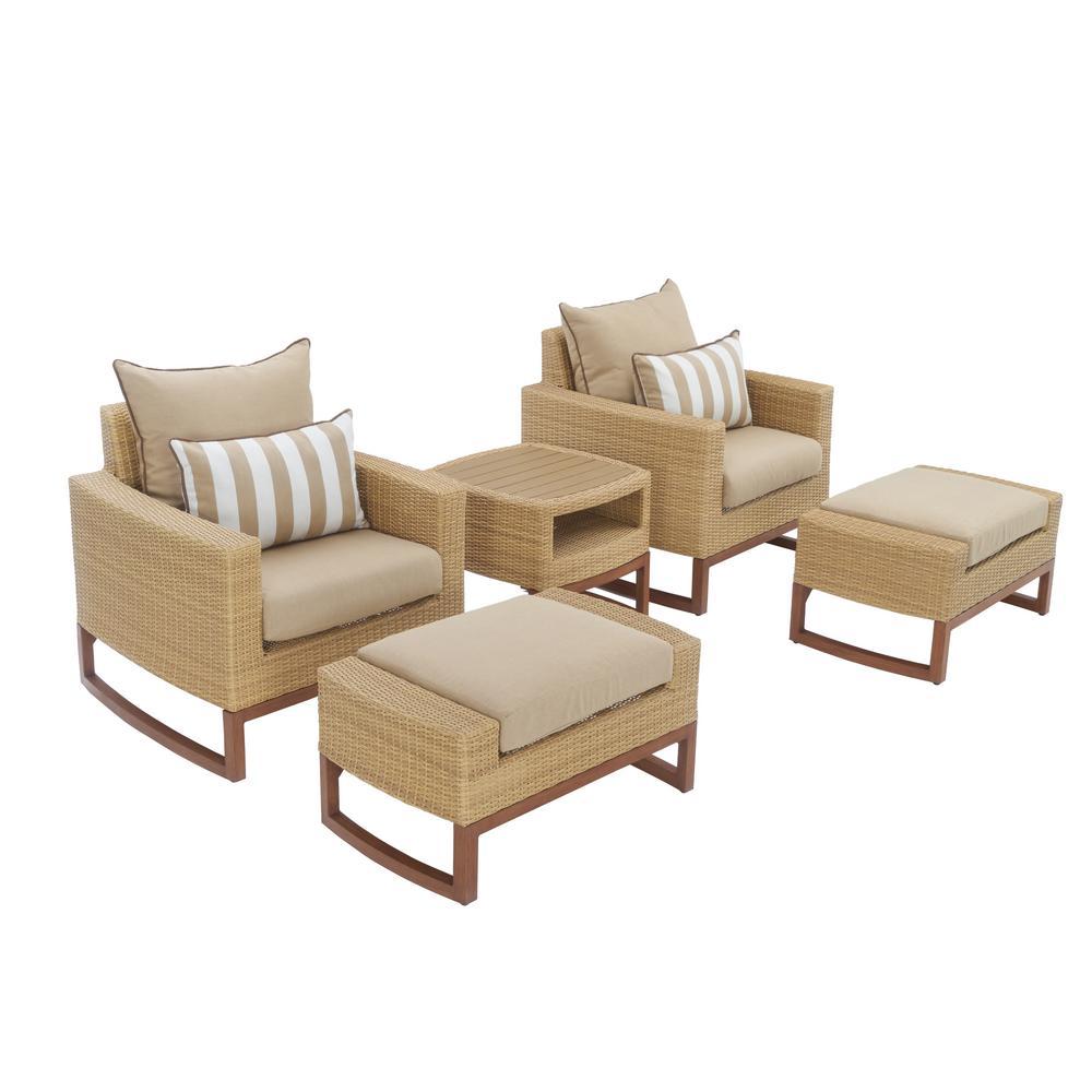 Mili 5-Piece Wicker Patio Deep Seating Conversation Set with Sunbrella Maxim Beige Cushions