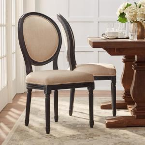Outstanding Jacques Antique Black Natural Linen Round Back Dining Chair Set Of 2 Pabps2019 Chair Design Images Pabps2019Com