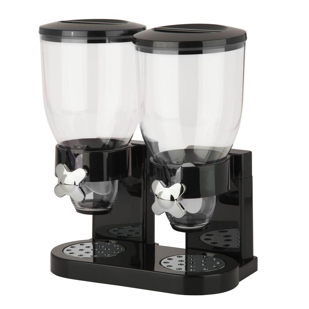 Double Black Cereal Dispenser with Portion Control