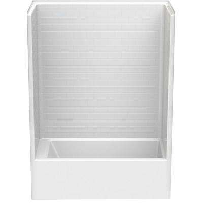 Everyday Subway Tile 60 in. x 32 in. x 80 in. 1-Piece Bath and Shower Kit with Right Drain in White