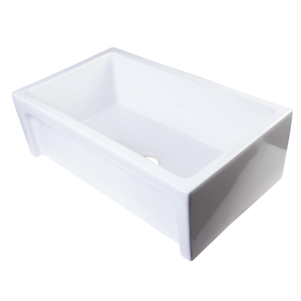 ALFI BRAND Arched Farmhouse Apron Fireclay 30 in. No-Hole Single Basin Kitchen Sink in White